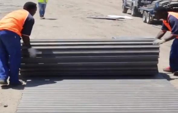 grey composite airfield matting