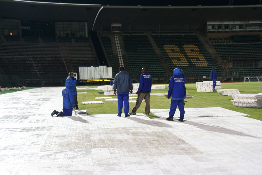 white covers to protect pitch